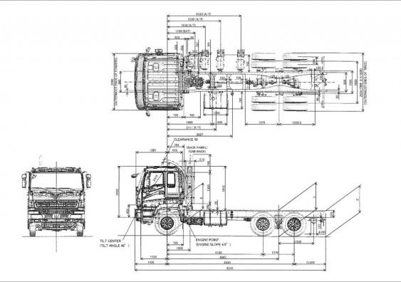 Габаритные размеры шасси ISUZU CYZ52P